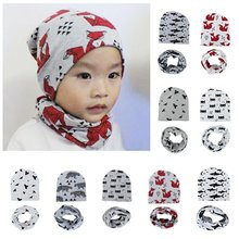 Warm Kids Caps Scarfs Suits Cotton Froal Star Infant Hats Scarf Set 2 Pcs In Sets(China)