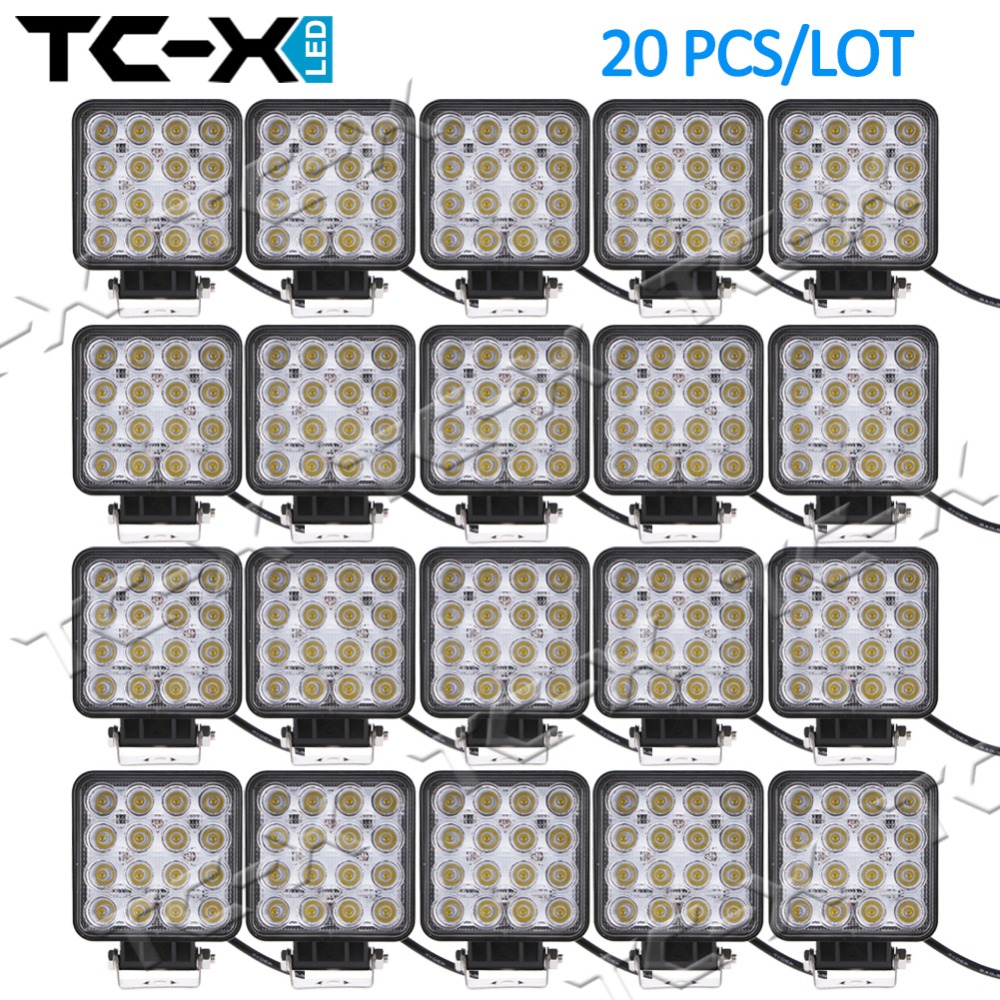 TC-X 20PCS Russia/US Warehouse Wholesale 16x3W LED Work Light for Indicators Driving Offroad Boat Car Tractor Truck 4x4SUV Flood<br><br>Aliexpress