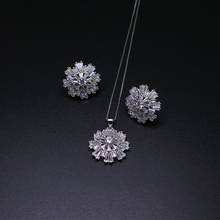 New design White Spike CZ Crystal Jewelry Sets  Earring  and Pendant  necklace set fashion  Jewellery For Women