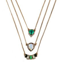 New Design Vintage Exquisite Women Acrylic Geometric Green Gem Multi Layer Necklace For Women Dress Accessories