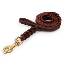Solid Color Genuine Cow Leather Simple Design Sturdy And Durable Dog Leash Puppy Large Dog Walking Training Leads Pet Product