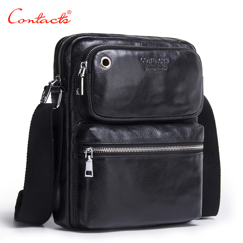 CONTACTS 2017 New Arrival Genuine Cowhide Leather Mens Cross Body Bag Shoulder Bags For Men Messenger Bag Portfolio<br>