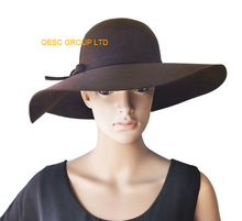 NEW Brown Big brim100% Wool felt hat with felt bow,best choice for winter church formal occasion or daily life(China)