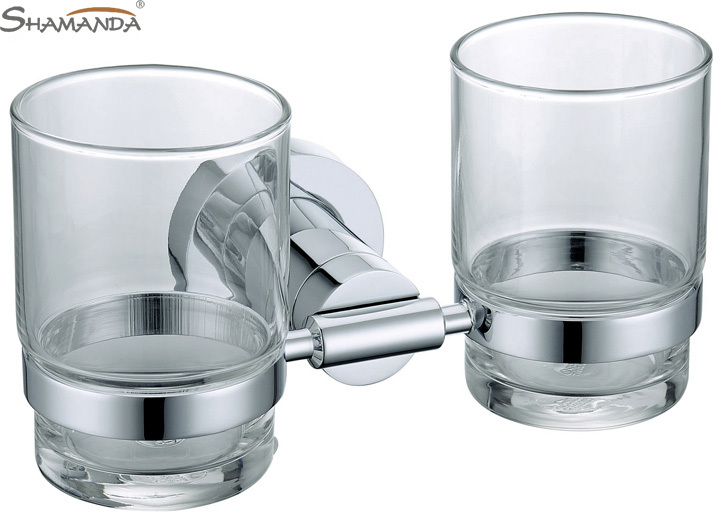 Limited Free Shipping-solid Chrome Double Cup Holder,toothbrush Holder,glass Holder, Bathroom Accessories-wholesale-84004<br>