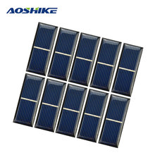 Aoshik 10pcs Epoxy Solar Panel Solar Cell 0.5V 220mA Photovoltaic Panel Sun power Module DIY Solar Battery Car Charger 55*22*3mm
