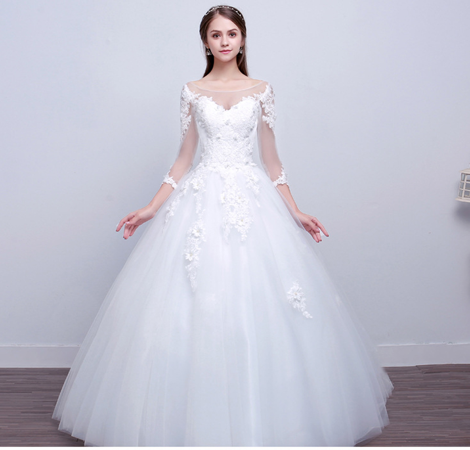 LAMYA Real Photo Princess Elegant Wedding Dresses With Long Lace Sleeve High Quality Ball Gown Bridal Gowns Vestidos De Noiva 6