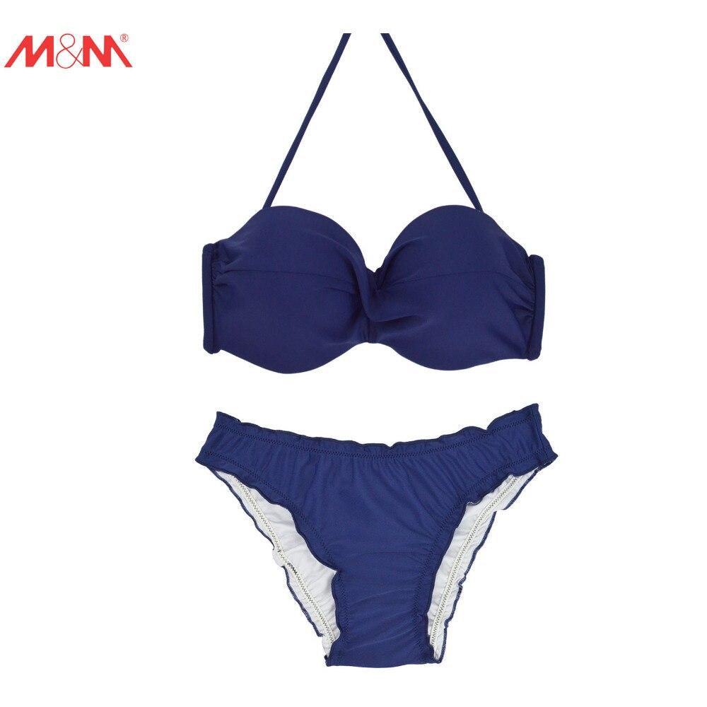 M&amp;M Sexy Chiffons Bikini Set 2017 Summer Pad Push Up Swimwear Bathing Suit Halter Ruched Up Swimsuit for Women Low Waist Bikini<br><br>Aliexpress