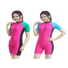 New female lady with short sleeves breast advances body is prevented bask in clothes surfing dress diving suit snorkeling serve
