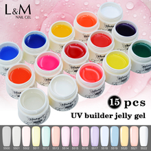 15 Pcs IBD UV Led Builder Gel New UV Nail Primer Salon for Gel Acrylic 30 Days Lasting Extension Clear Nail Polish