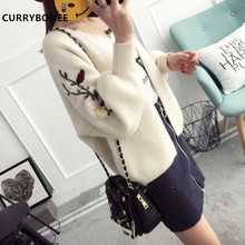CURRYBONEE 2017 New Arrival Women's Sweater Knit Cardigan Coat Embroidered Female Fashion Bubble Sleeve Women Autumn Outwear(China)
