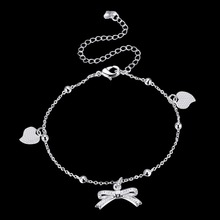 2017 925 sterling silver Cute Bowknot Charm Leg Anklets For Women Ankle Bracelet Woman Anklet Female Foot Jewelry(China)