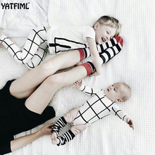YATFIML 2017 FASHION Chess grid brother and sister matching clothes Children's family matching outfits Ropmer dress legging