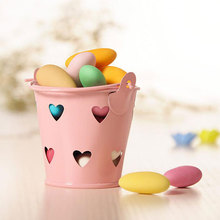 10pcs Mini Hollow Heart Iron Bucket Candy Decoration for Wedding Birthday Party Favors Package for Guests Mini Flower Baskets(China)