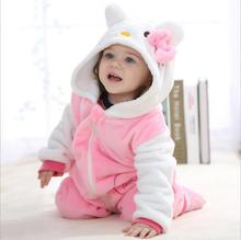 Hello kitty baby rompers 2016 boys sleepwear girls newborn clothes Cartoon Jumpsuit Pajamas warm animal macacao bebe menina YJY