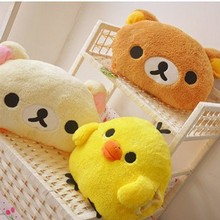 33*25cm Rilakkuma Plush toys hand warmer cushions pillow, stuffed animal cushion birthday gift for girls Brown, white, yellow