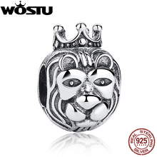 Hot Sale 925 Sterling Silver King Of The Jungle Lion Head Charm Fit Original wst Bracelet Necklace Authentic Jewelry Gift(China)