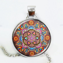 Silver plated necklace mandala necklaces chakra pendant OM jewelry for women glass cabochon pendants Zen gifts jewellery vintage(China)