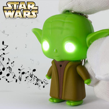 New Arrival LED Star War Lightsaber Grandmaster Yoda Jedi Action Figure Toys With Sound Keychain Wholesale(China)