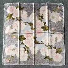 New Lace Floral Print 100% Silk Twill Scarf ,Women's Temperament Square 90 Silk Scarves Shawl Wraps for Spring Autumn
