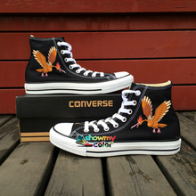 Hand Painted Shoes Women Men Converse All Star Brown Fearow Pokemon Design Custom Sneakers Boy Girls Skateboarding Shoes(China)