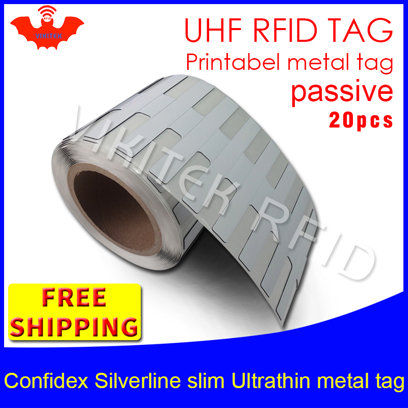 UHF RFID ultrathin metal tag confidex silverline slim 915m 868m Impinj M4QT EPC 20pcs free shipping big printable PET RFID label<br>