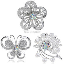 Cheap Brooches Pins Wholesale Fashion Jewelry Gift Korean Style Wedding Flower Brooches Crystal Rhinestone