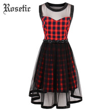 Rosetic Gothic Dress Red Plaid Women Summer A-Line Casual Goth Dresses Vintage O-Neck Mesh Sleeveless Young Retro Gothics Dress(China)