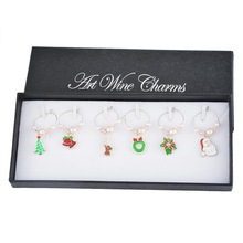 1 Gift Box 6PCs Pink Faux Pearl Navidad Enamel Pendant Wine Glass Charms Christmas Decorations For Home Outdoor Party Supplies
