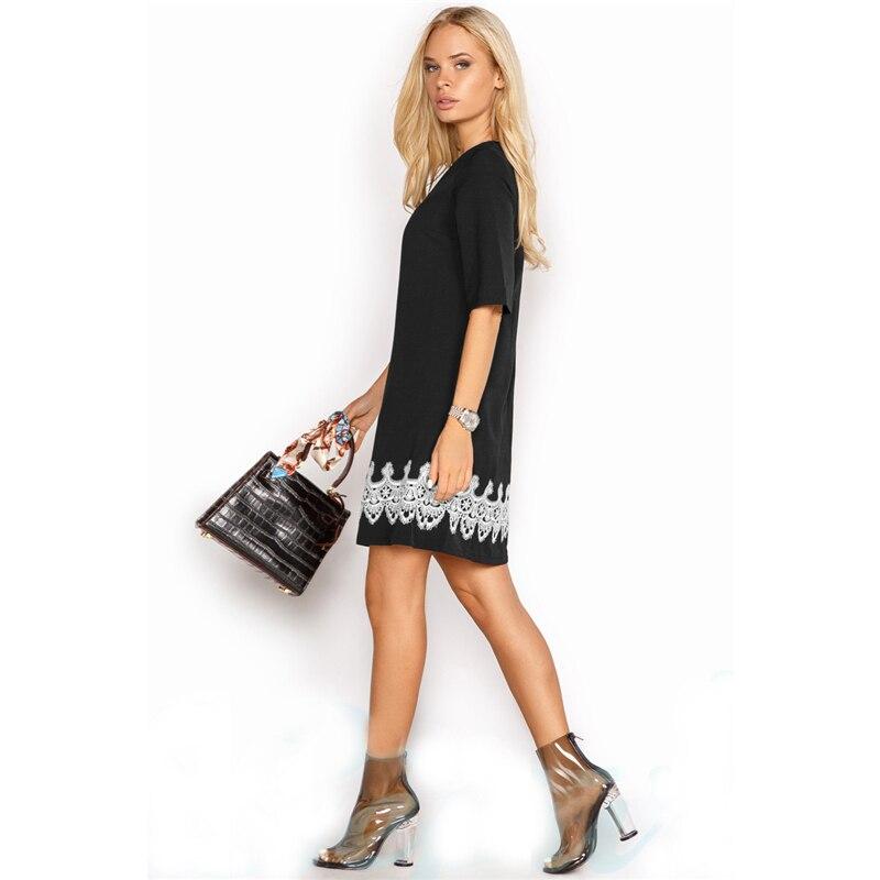 Summer Dress 2018 Women Fashion Casual Mini Lace Dress Black White Short Sleeve O-Neck Beach T Shirt Dresses Plus Size 3
