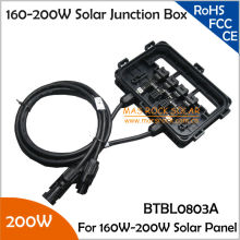 160-200W Waterproof Solar Module Junction Box with3 Diodes, MC4 Connector, 90cm Cable, 200W Solar Junction Box