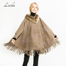 LESIDA Luxury Brand Women Winter Wool Scarf Cloak Fur Collar Floral Print Tassel Shawls Poncho And Capes Echarpes 135*78CM 3437(China)
