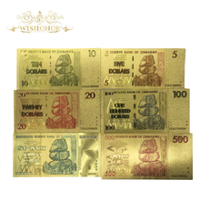 6pcs/lot Zimbabwe Banknote Dollar Bills Banknote in 24k Gold Plated Fake Money For Home Decor Free Shipping(China)