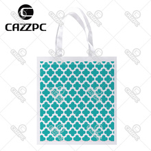 Turquoise Quatrefoil Clover Diamonds Geometry Print Custom Non-Woven Fabric Reausble Grocery Shipping Storage bag Pack of 4