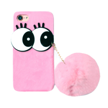 2017 Fashion hand made cartoon eyes eyelashes plush ball winter keep warm candy color fluff hard pc cell phones case For Iphone(China)