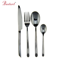 2017 Luxury Western Stainless Steel Black Cutlery Sets 1lot/4pcs Knives Forks teaspoons Dinnerware Set Service 1person 3color
