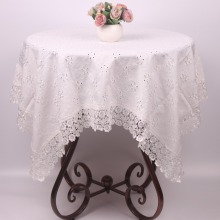 Christmas Table Cloth Plain Beige Embroidered Table Covers / Pure Cotton White Lace Tablecloth for Dinning Tables Tea Table(China)