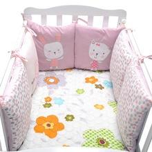 6 шт. детская кровать Бамперы для автомобиля вышитые кролик хлопок новорожденного кровать вокруг защита Многофункциональный обратно Cusion По...(China)