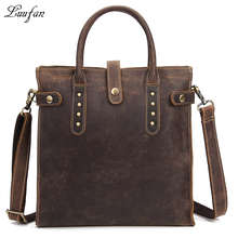 Men's Vintage crazy horse leather tote bag Brown hard genuine leather shoulder bag fashion cowhide casual messenger bag durable(China)