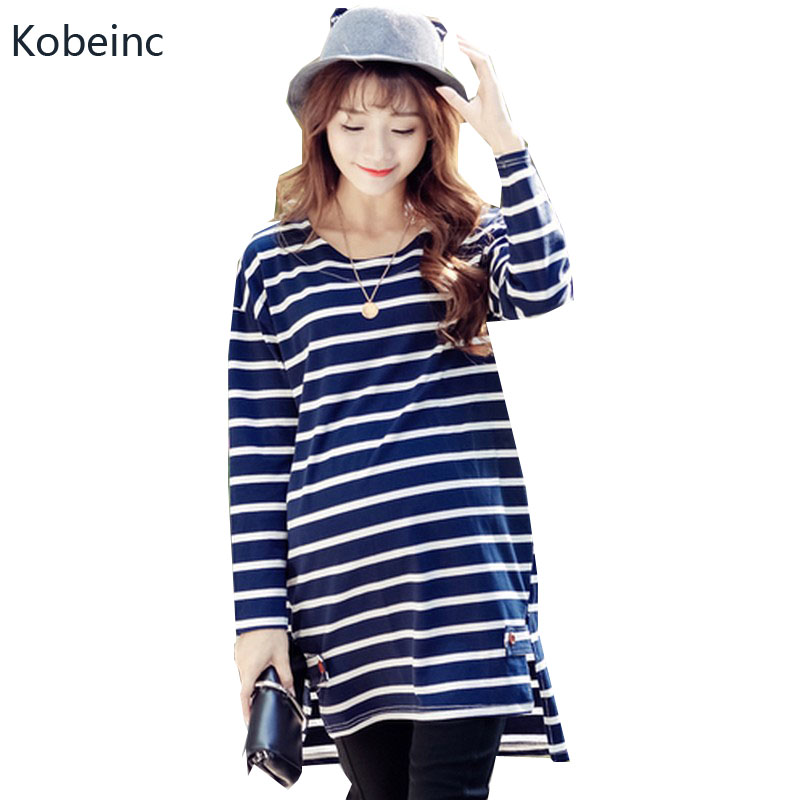 Kobeinc Long Sleeved Striped Clothes Pregnant Women Cotton Long Section Maternity T-Shirt Fashion Loose Pregnancy Clothing