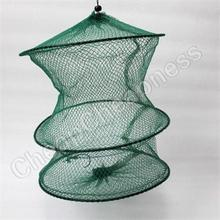 High Quality Folding Round Metal Frame Nylon Mesh Crab Fish Net Fishing Landing Net Green
