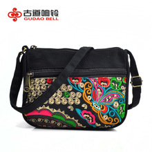 National Style Embroidery Pack Canvas Women Messenger Bag Postman Pack Showcase Teenage Female Charm Support Distribution cute