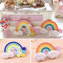 Clay Stereo Cartoon Rainbow Lollipop Baby Girl Hair Clip Hairpin Toddler Kid Children Hair Accessories Headwear