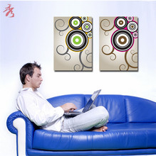 40x55cmx2pcs Geometric circles Canvas Print Painting Home Unique Modular Picture for living room Wall Unframed Decor No Frame