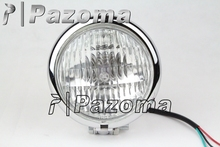 "PAZOMA Motorcycle 4.5"" Chrome H4 Mini Shiny Metal Round Custom Headlight For Harley Chopper Bobber Sportster Curiser Road King"