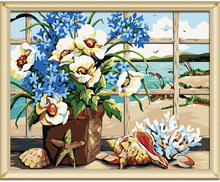 Windows Seaside Max Size 60x75cm Frameless Pictures Painting By Numbers DIY Digital Oil Painting On Canvas Home Decoration DIY.