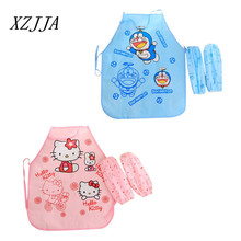 Cartoon Korean Hello Kitty/Bule Cat Cute Child Kids Apron Set Kitchen Art  Baking Painting Pinafore+Arm Sleeve PE Waterproof