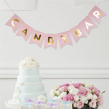 Candy Bar Fishtail String Flag Wedding Party Decorative Pink Golden Banner Birthday Event Supplies Party Bunting Wall Decoration(China)