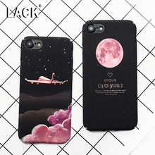 LACK Fashion Space Moons Cartoon Case For iphone 7 Case Cute Candy Airplane Frosted Hard Cover Phone Cases For iphone7 6 6S Plus
