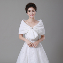 Free Shipping Winter New Cheap 2017 Faux Fur Plush Shrug Stole Bolero Cape Wraps Wedding Accessories Bridal Women Shawl Wraps