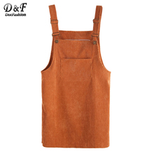 Dotfashion Corduroy Overall Dress With Pocket Spaghetti Strap Shift Dress 2017 Autumn Ladies Sleeveless Short Dress(China)